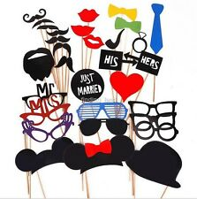 58/31/10pcs Photo Booth Props Moustache Hat Glasses Weddings Party Just Married