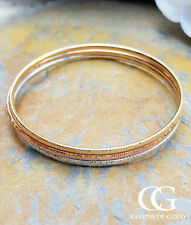 Fine 9ct Gold Hammered Slave Bangle in Rose, White or Yellow