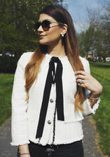 ZARA ecru white tweed blazer jacket with bow sold out bloggers new ALL SIZES