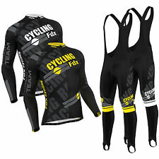 FDX Mens Pro Cycling Jersey Cold Wear Thermal Bike jacket + Racing Bib Tight Set