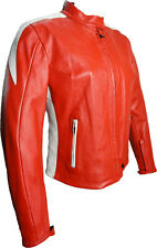 Giubbotto Moto Donna in Pelle On&Off One Rosso Bianco