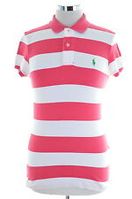 Ralph Lauren Womens Polo Shirt Size 12 Medium Pink Stripes The Skinny Polo