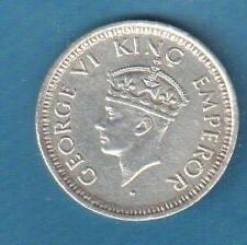 KING GEORGE VI - 1/4 RUPEE 1943 UNC SILVER 50% BOMBAY MINT SECURITY EDGE