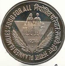PLANNED FAMILIES   FOOD FOR ALL 1974  10   RUPEE  PROOF  COIN