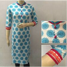 White and Blue Casual Wear Cotton Printed Ladies Kurti with Embroidery in Sleeve