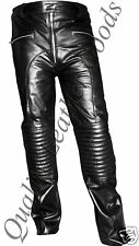 MENS PREMIUM SEXY LEATHER BIKER JEANS PADDED KNEE PANTS TROUSER FRONT ZIP