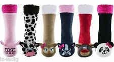 Ladies Novelty Animal Sherpa Insulated Extra Warm Thermal Lounge Socks Co-Zees