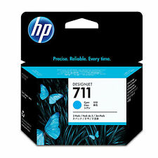 GENUINE OEM HP HEWLETT PACKARD DESIGNJET CYAN INK 3 CARTRIDGE MULTIPACK - HP 711