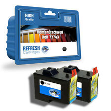 REFRESH CARTRIDGES 2 PACK OF BLACK 7Y743 INK COMPATIBLE WITH DELL PRINTERS