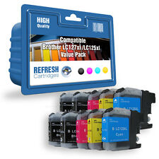 10 X COMPATIBLE BROTHER INK CARTRIDGES LC127XL / LC125XL 2 FULL SETS + 2 BLACK