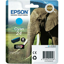 GENUINE EPSON ELEPHANT SERIES CYAN INK CARTRIDGE / EPSON 24 / C13T24224010
