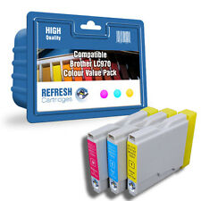 COMPATIBLE BROTHER LC970 INK CARTRIDGES - 3 CARTRIDGE COLOUR VALUE PACK