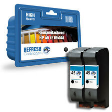 2 X BLACK REMANUFACTURED HP PHOTOSMART HIGH CAPACITY INK CARTRIDGES HP 45 HP45