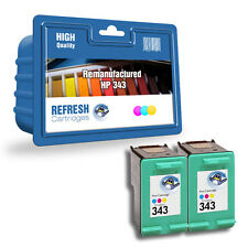 2 X REMANUFACTURED HP HEWLETT PACKARD HIGH CAPACITY COLOUR INK CARTRIDGES HP 343