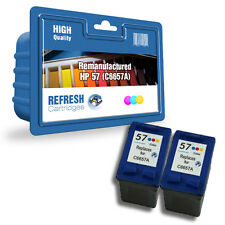 2 REMANUFACTURED COLOUR HP 57 HP57 C6657AE INK CARTRIDGES HIGH CAPACITY