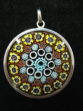 Large Millefiori Murano Glass disk Pendant Silver Surround Vintage Hallmarked