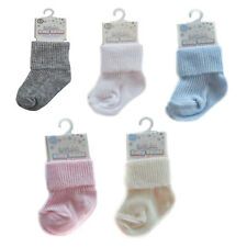 Baby Boys Girls 2 Pairs Of Soft Touch Roll Top Cotton Rich Socks Blue Cream Pink
