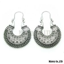 Tibetan Silver Carved Moon Vintage Ethnic Drop Dangle Earrings Retail Jewelry Je