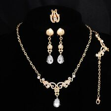 Wedding Bridal CZ Diamond Jewelry Sets 18K Gold Plated Vintage Hollow Out Water