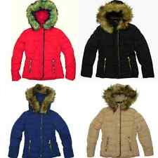 New Womens Ladies Fur Hooded Winter Jacket Coat Puffer Parka Collar Quilted Size