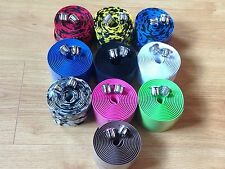 10  COLOURS ROAD BIKE / BICYCLE CORK HANDLEBAR WRAP TAPE WITH 2 BAR PLUGS