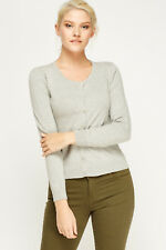 Women Ladies Fine Knit Button Cardigan Round Neck V Neck Long Sleeve Tops