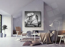 Old Abandoned Square Boat Black and White Canvas Art Poster Print Home Decor