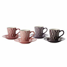 Maxwell & Williams Designer Graphique Flame Demi Cup & Saucer Set of 4 Gift Box