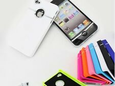 Hard Plastic & Chrome Ring Stylish Case Cover for iPhone 4 4S Choose From