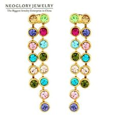 Neoglory Gold Plated Auden Rhinestone Colorful Long Bead Drop Earrings Gold Plat