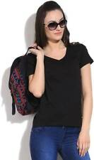 United Colors of Benetton Solid Womens V-neck Black T-Shirt (Flat 60% OFF) -9KO