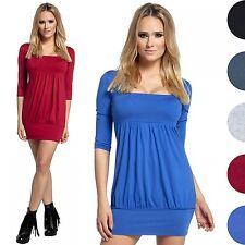 Glamour Empire. Women's Bubble Tunic Mini Dress Empire Waist. 3/4 Sleeves. 954
