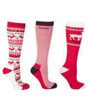 TOGGI ALIA LADIES 3 PACK OF SOCKS - WITH REINDEER AMD STRIPES - 3 COLOUR CHOICES