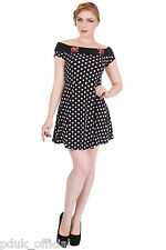 Banned Reverly 1950s Vintage Cherry Rockabilly Mini Bardot Party Dress UK 8-16
