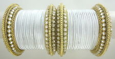 INDIAN ETHNIC 28 PCS WHITE GOLD TONE PARTY WEAR BANGLES CHURI SET DIWALI JEWELRY