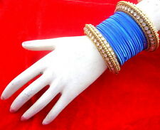 INDIAN ETHNIC 28 PCS BLUE GOLD TONE PARTY WEAR BANGLES CHURI SET DIWALI JEWELRY