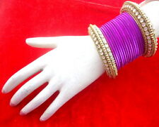 INDIAN ETHNIC 28 PC PURPLE GOLD TONE PARTY WEAR BANGLES CHURI SET DIWALI JEWELRY
