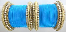 INDIAN ETHNIC 28 PC TURQ GOLD TONE PARTY WEAR BANGLES CHURI SET DIWALI JEWELRY