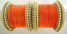 INDIAN ETHNIC 28 PC ORANGE GOLD TONE PARTY WEAR BANGLES CHURI SET DIWALI JEWELRY