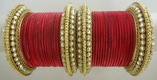 INDIAN ETHNIC 28 PC MAROON GOLD TONE PARTY WEAR BANGLES CHURI SET DIWALI JEWELRY