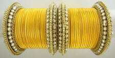 INDIAN ETHNIC 28 PC YELLOW GOLD TONE PARTY WEAR BANGLES CHURI SET DIWALI JEWELRY