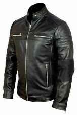 Mens Cafe Racer Jacket Biker Motorcycle Bikei Real Black Leather Jacket Vintage