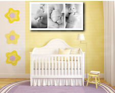 Three Shots of Cute Baby Detail Black and White Canvas Art Poster Print