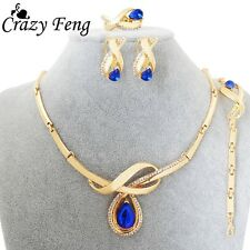 18K Gold Plated Sapphire Jewelry Set Water Drop Pendant Necklace Earrings ring W