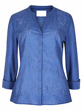 New Ex M&S Ladies Blue Cotton Embroider Shirt Blouse Tunic Top Dress Size 10- 20