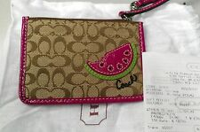 Authentic Coach Khaki Signature C Pink Watermelon Applique Mini Skinny