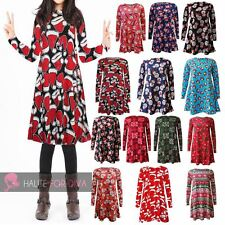 KIDS WOMEN'S NEW X-MAS PRINT LONG SLEEVE SWING DRESS PLUS SIZE AVAILABLE