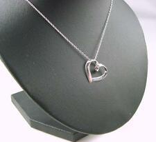 925 Sterling Silver 'PLAIN HEART' pendant and 18 - 20 Inch Trace Chain & Box