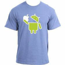 Android Robot Eats Apple Funny Google Droid Parody Humor Geek T-Shirt