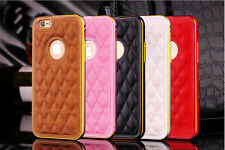 Metal Bumper Frame With Smooth Plaid Leather Back Cover For Apple iPhone 6 6S